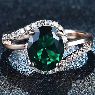 Prsteň Diana-Zlatá/Zelená/57mm