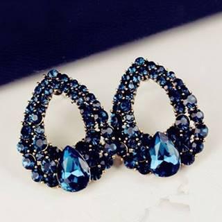 Náušnice Drop Royal  Blue-Modrá
