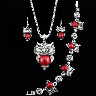 Set Antique Owl - Červená