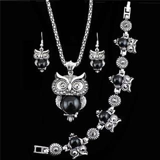 Set Antique Owl - Čierna