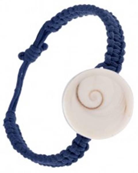 Šperky eshop Šnúrkový náramok tmavomodrej farby, pletenec s kruhovou mušľou