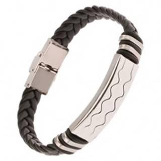 Čierny gumený náramok - vrkočový remienok, známka s vlnkami
