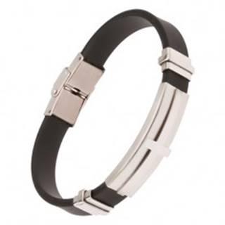 Náramok na ruku, čierny gumený pás, oceľová známka s krížom