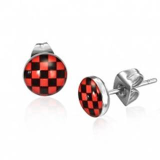 Oceľové náušnice, červeno-čierny šachovnicový vzor