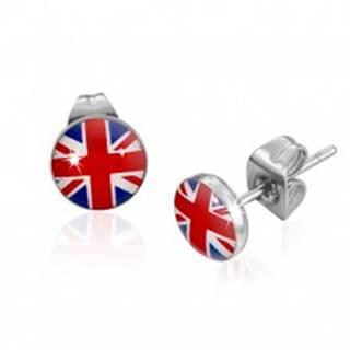 Okrúhle puzetové náušnice z ocele, britská vlajka