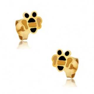 Zlaté náušnice 375 - drobné ploché včeličky, farebná glazúra