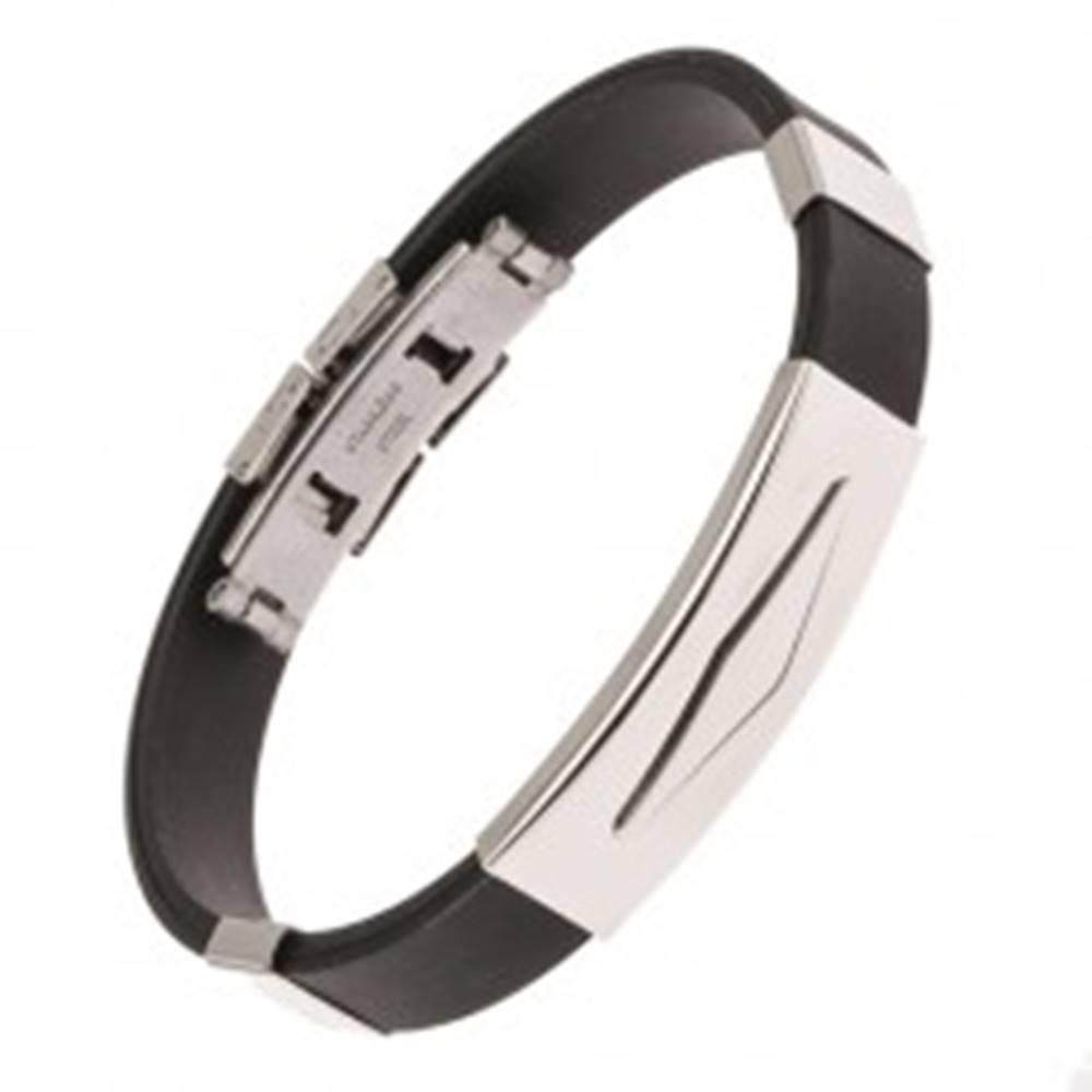 Šperky eshop Gumený náramok čiernej farby, známka z ocele s kosoštvorcom