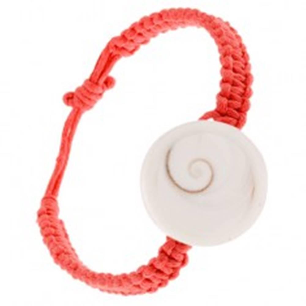 Šperky eshop Karmínový zapletaný šnúrkový náramok, kruhová mušľa