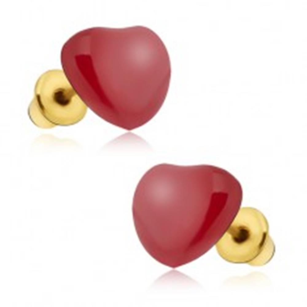Šperky eshop Náušnice - súmerné červené glazúrované srdcia