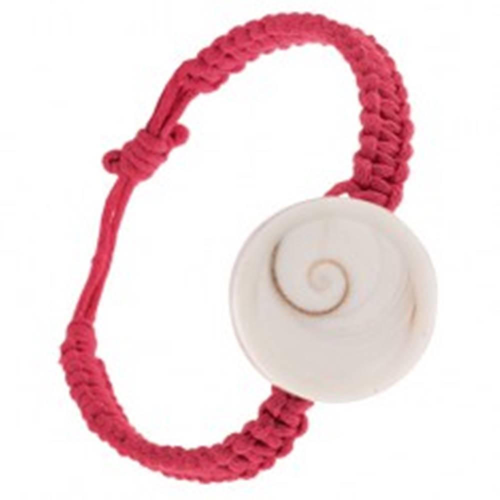 Šperky eshop Pletený náramok na ruku, tmavoružové šnúrky, okrúhla lastúra
