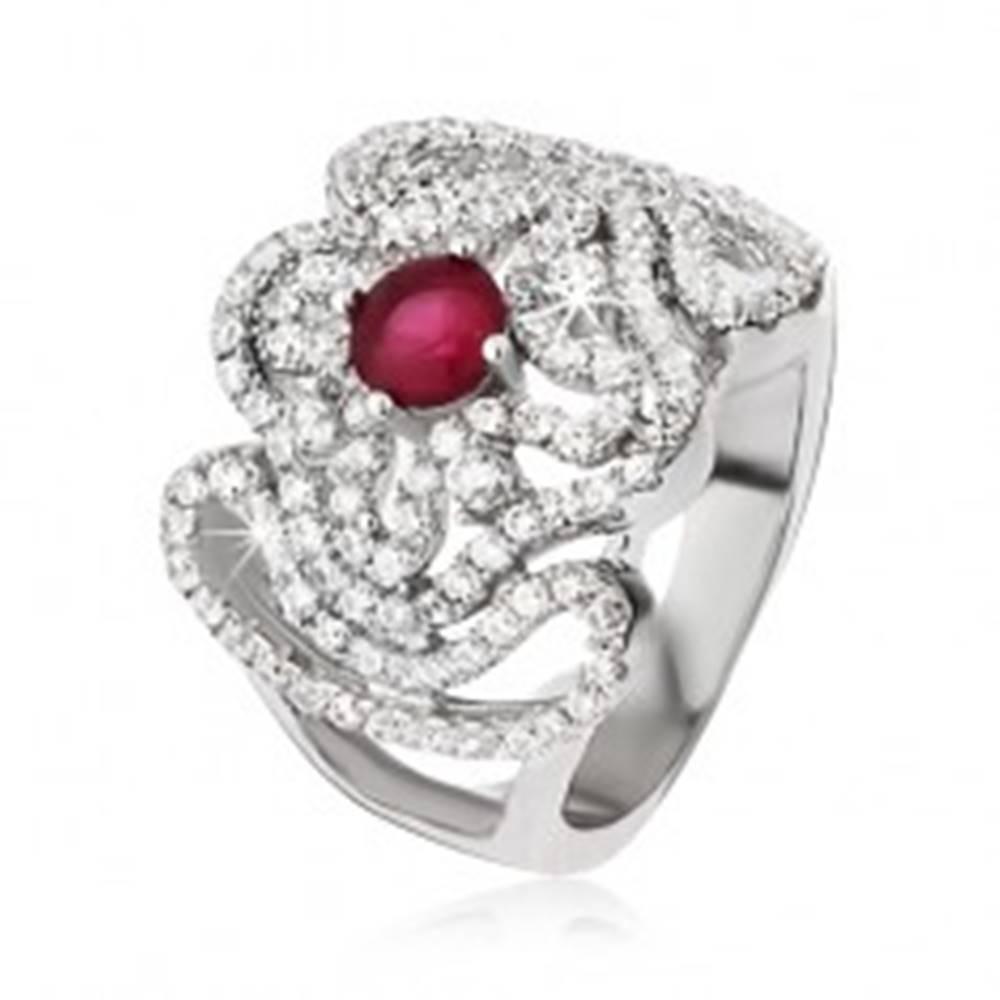 Šperky eshop Strieborný prsteň 925, zirkónový kríž, zvlnené línie a ružovočervený kamienok - Veľkosť: 52 mm