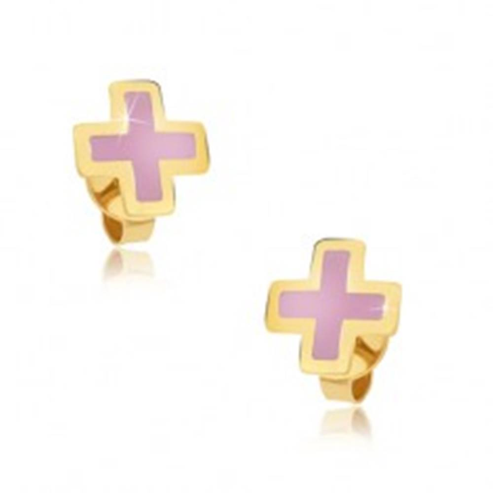 Šperky eshop Zlaté náušnice 375 - rovnoramenný ružový krížik, emailový povrch