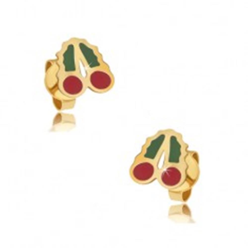 Šperky eshop Zlaté puzetové náušnice 375 - glazúrované červeno-zelené čerešne