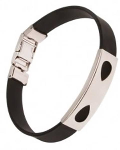Šperky eshop Čierny náramok z gumy, známka so slzičkovými výrezmi