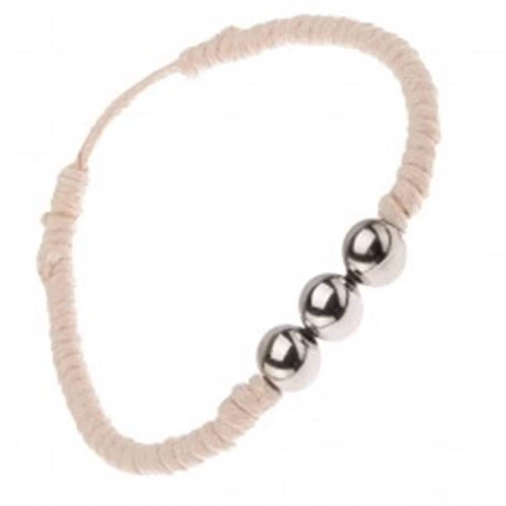 Šperky eshop Béžový šnúrkový náramok s tromi guličkami striebornej farby