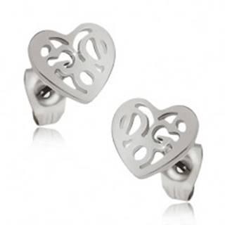 Lesklé náušnice z ocele - ozdobne vyrezávané pravidelné srdce