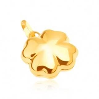 Lesklý zlatý prívesok 585 - trojrozmerný štvorlístok pre šťastie