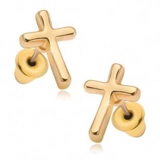 Náušnice s lesklým povrchom v zlatej farbe, latinský kríž
