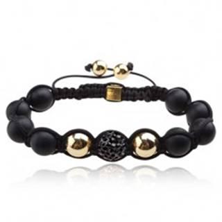 Shamballa náramok - matné čierne korálky, oceľovosivá zirkónová guľôčka