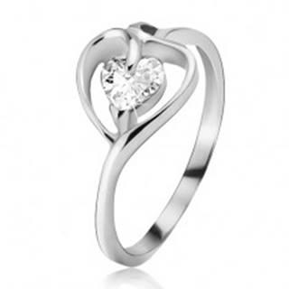 Strieborný prsteň 925, kontúra srdca s čírym zirkónom - Veľkosť: 49 mm