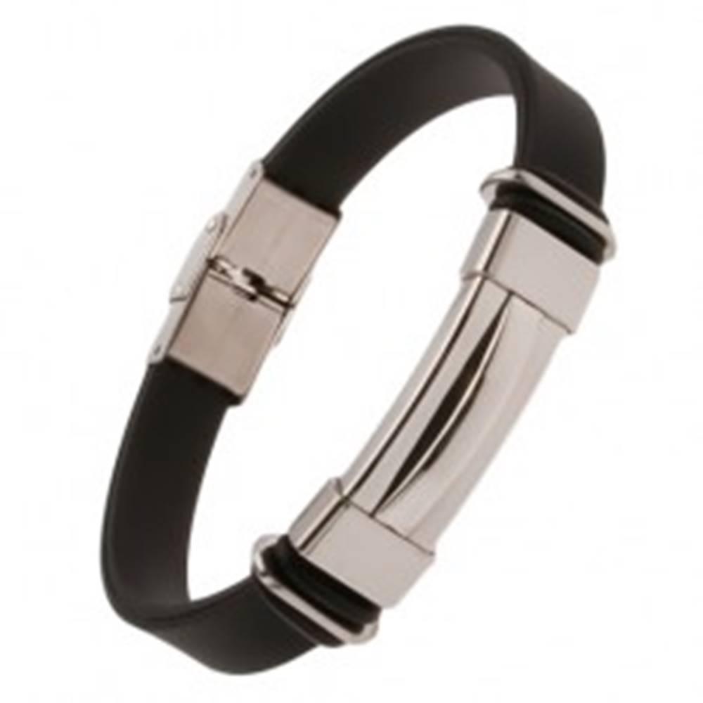 Šperky eshop Čierny gumený náramok, známka s vystúpeným stredom