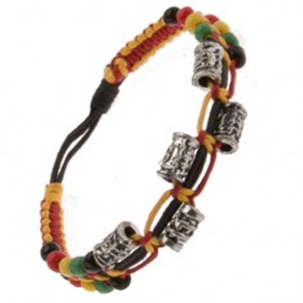 Šperky eshop Farebný náramok zo šnúrok, ozdobné kovové valčeky a korálky