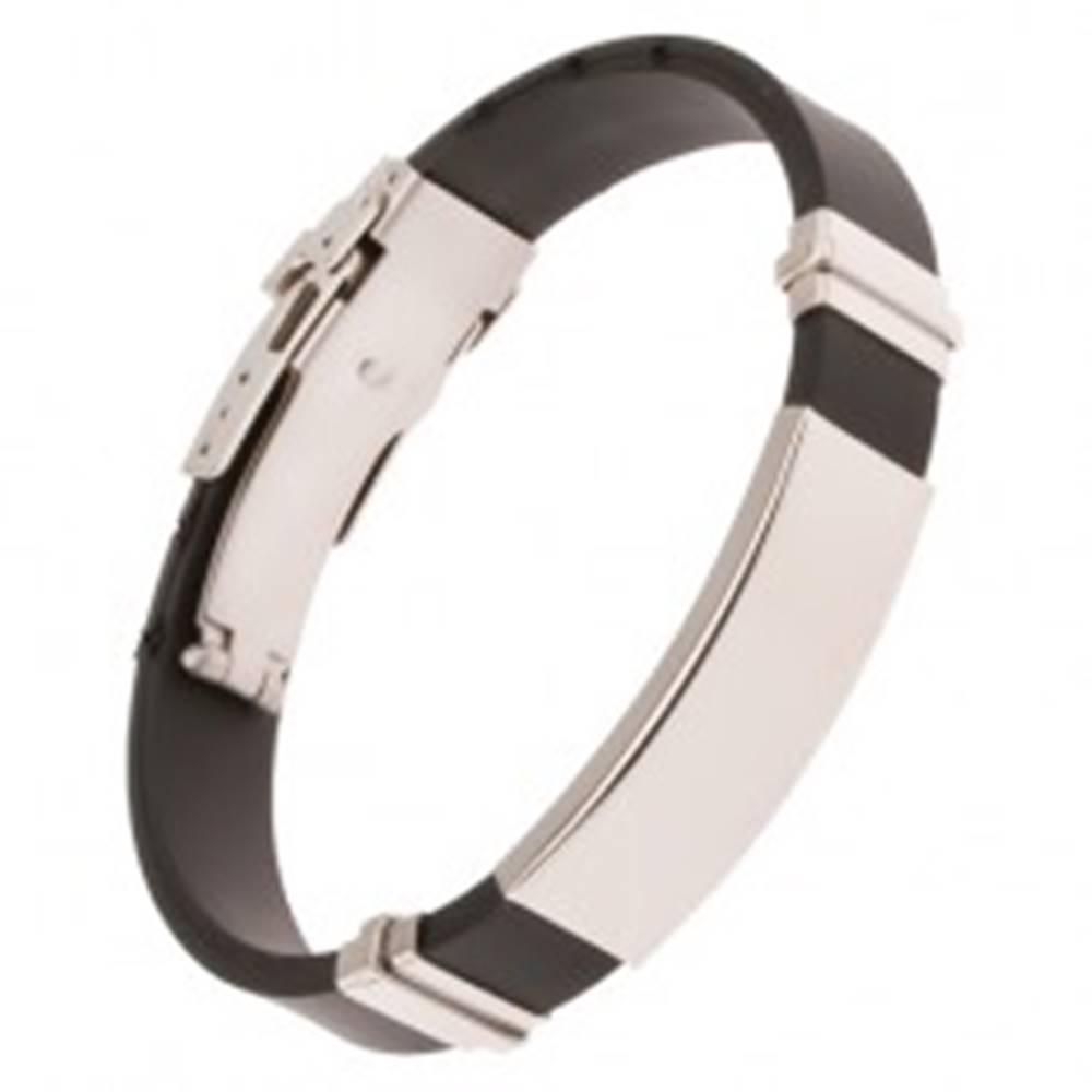 Šperky eshop Gumený náramok čiernej farby, lesklé oceľové známky