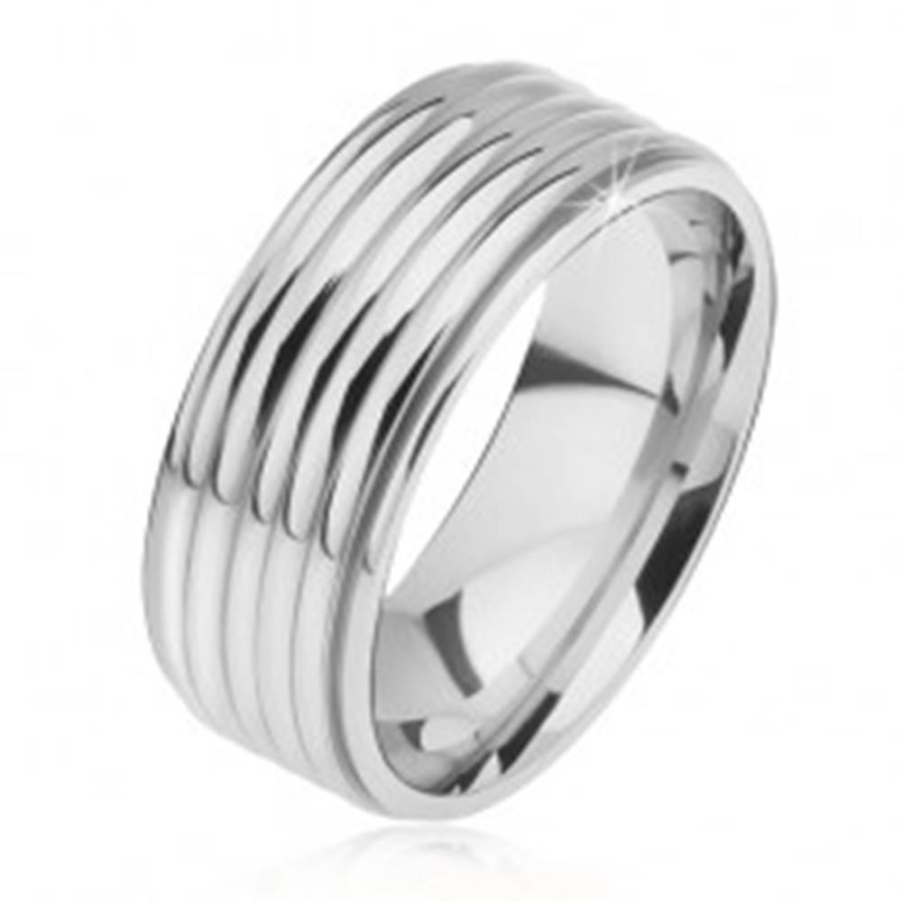 Šperky eshop Lesklá rovná obrúčka z ocele 316L, zaoblené pásy, znížené okraje - Veľkosť: 57 mm