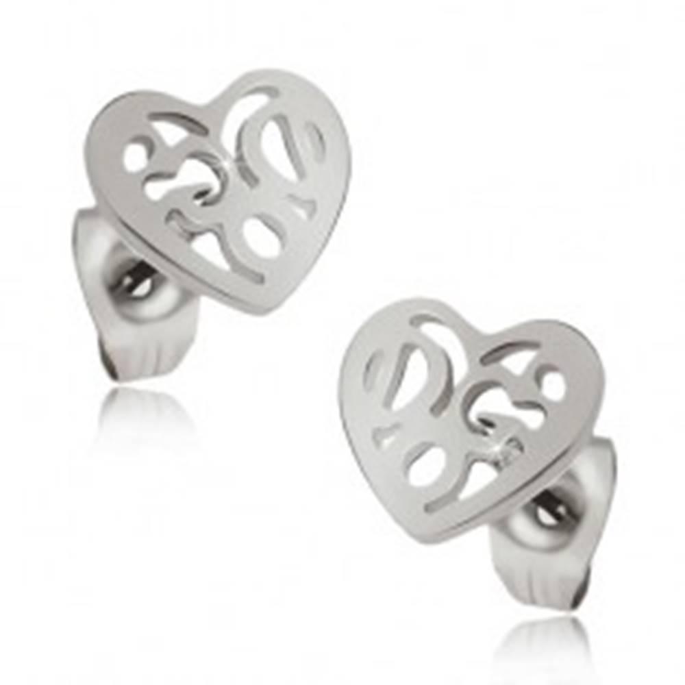 Šperky eshop Lesklé náušnice z ocele - ozdobne vyrezávané pravidelné srdce