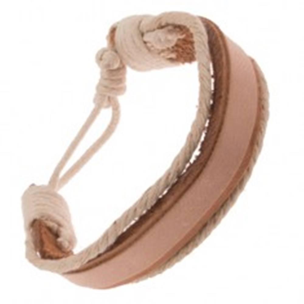 Šperky eshop Náramok na ruku z kože - hrubý a tenký béžový pás, krémové šnúrky