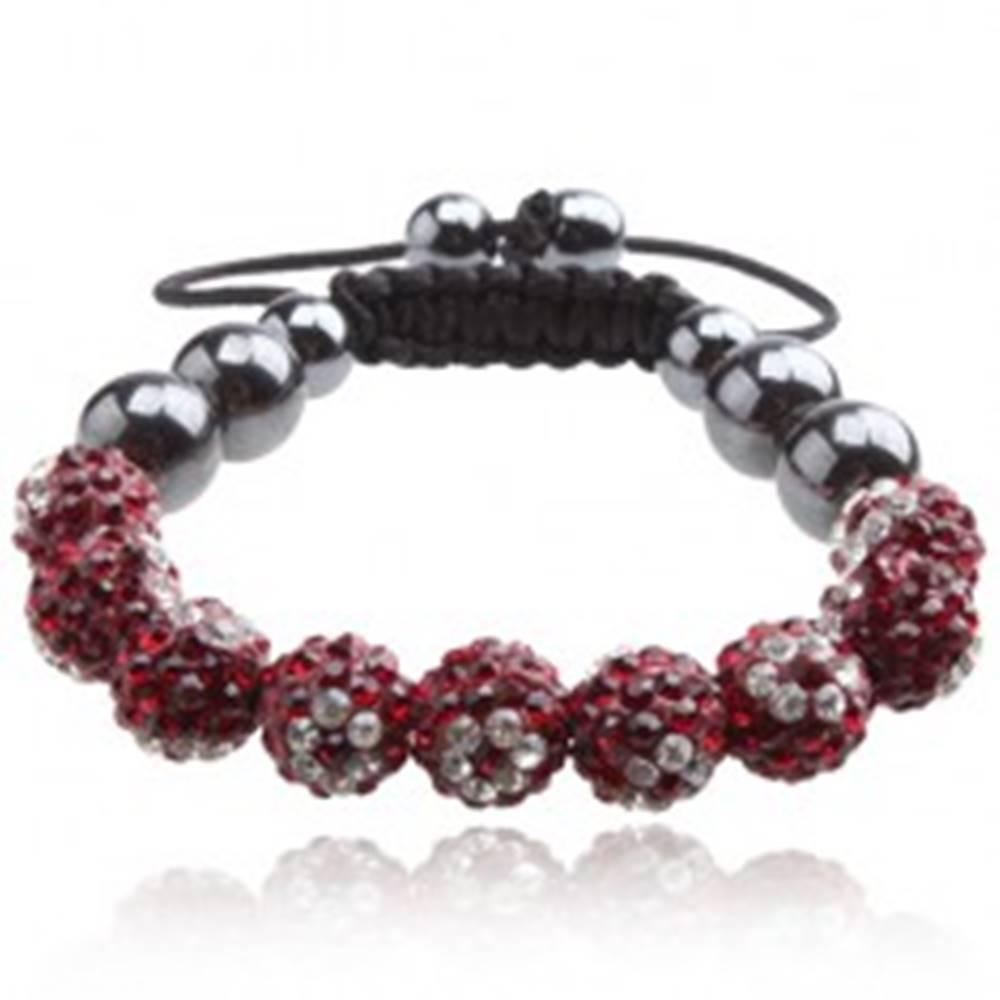 Šperky eshop Náramok Shamballa - červené guľôčky s čírymi kvietkami so zirkónov