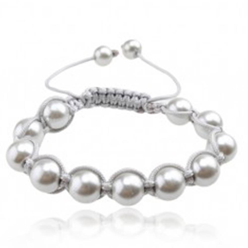 Šperky eshop Náramok Shamballa, lesklé striebristé perly