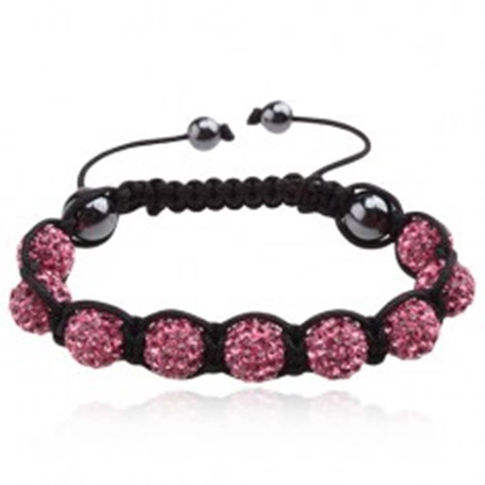 Šperky eshop Náramok Shamballa - ružové zirkónové guľôčky, čierna šnúrka