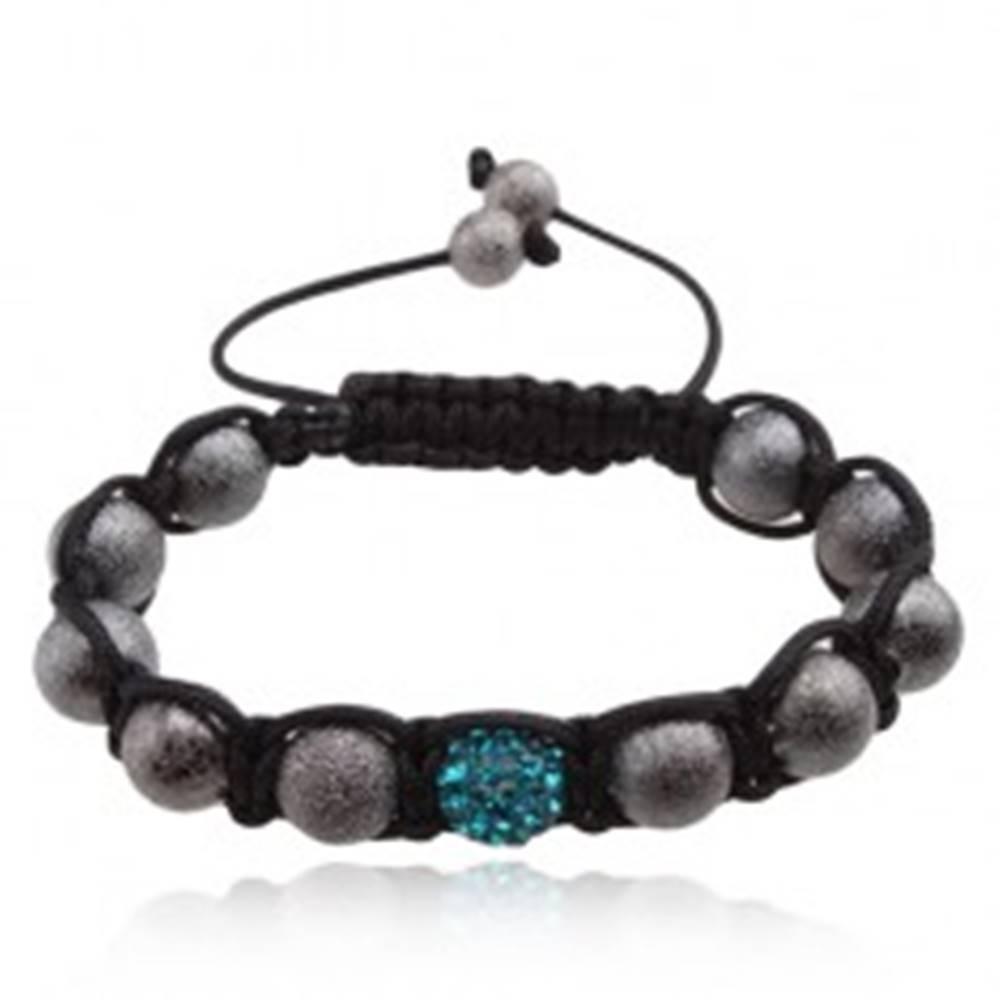 Šperky eshop Náramok Shamballa, trblietavé sivé korálky, svetlomodrá gulička