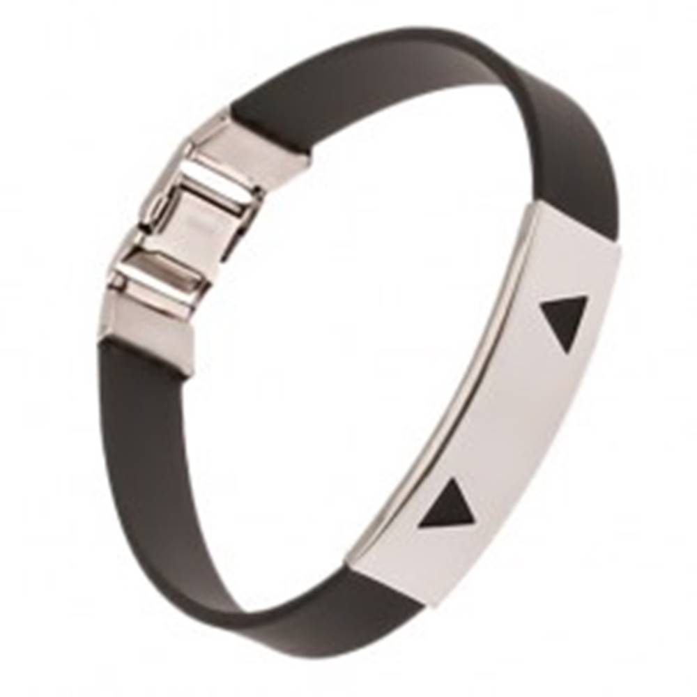 Šperky eshop Náramok z gumy čiernej farby, známka s trojuholníkovými výrezmi