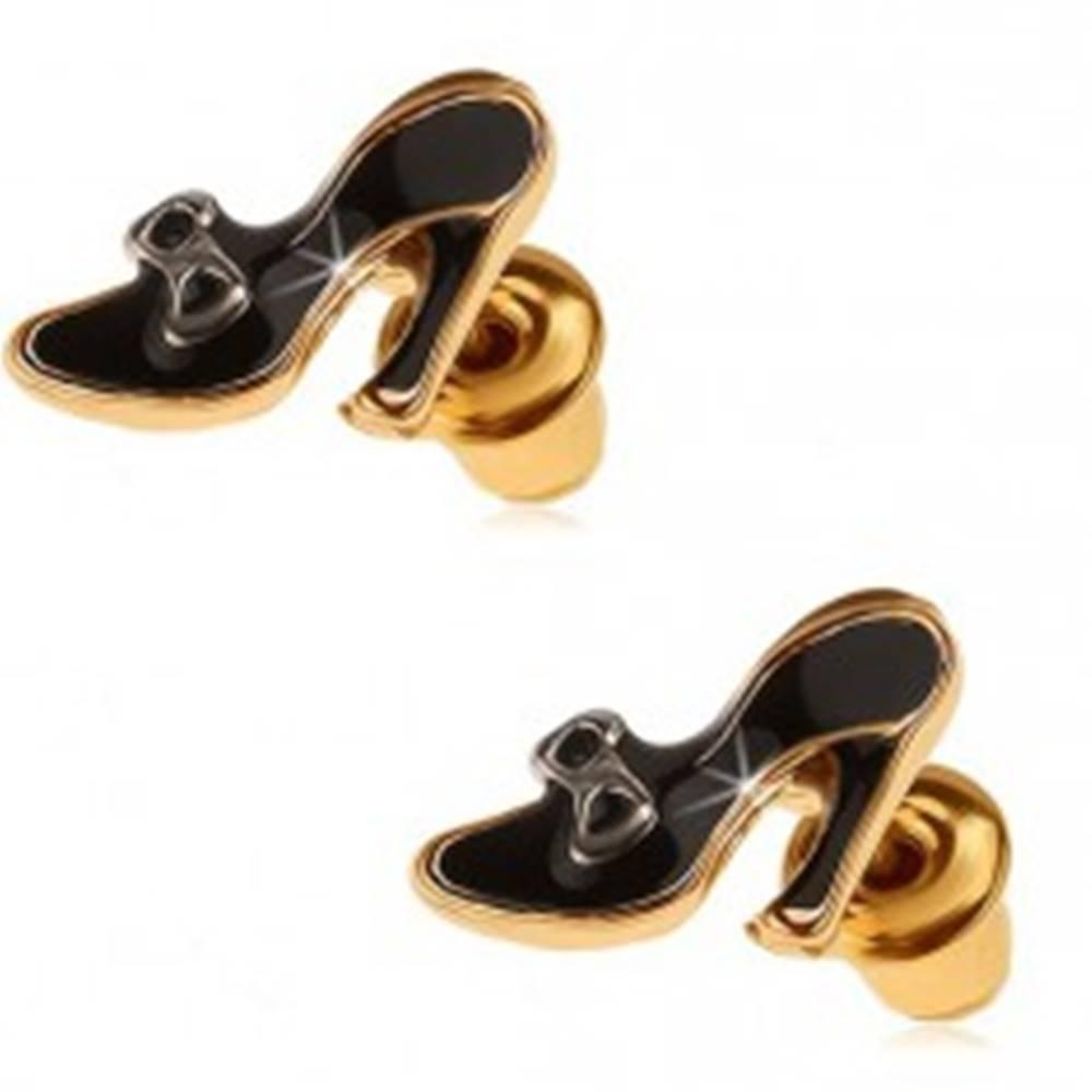 Šperky eshop Náušnice zlatej farby, čierne glazúrované dámske lodičky s mašličkou