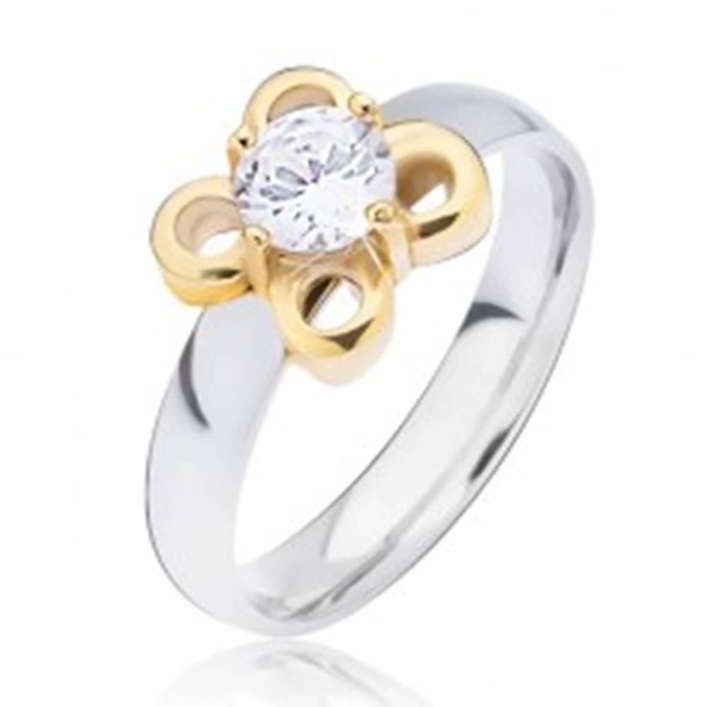 Šperky eshop Oceľový prsteň striebornej farby, kvietok zlatej farby s čírym zirkónom - Veľkosť: 49 mm