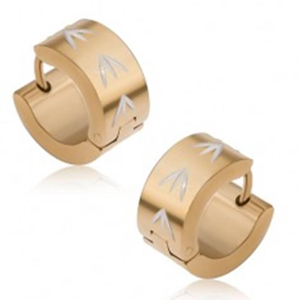 Šperky eshop Okrúhle náušnice z ocele, povrch zlatej farby, šípky striebornej farby