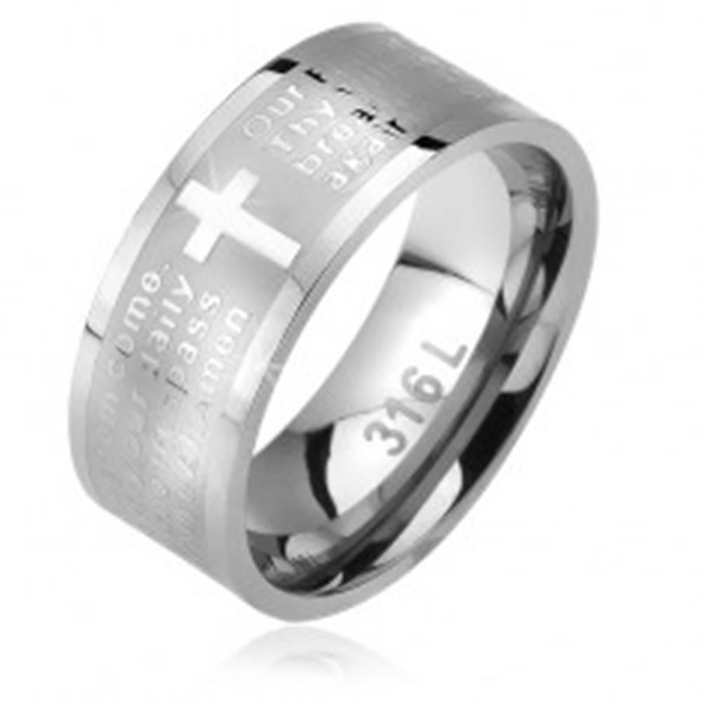 Šperky eshop Prsteň z ocele, matný pás s lesklým krížom a modlitbou Otčenáš - Veľkosť: 52 mm