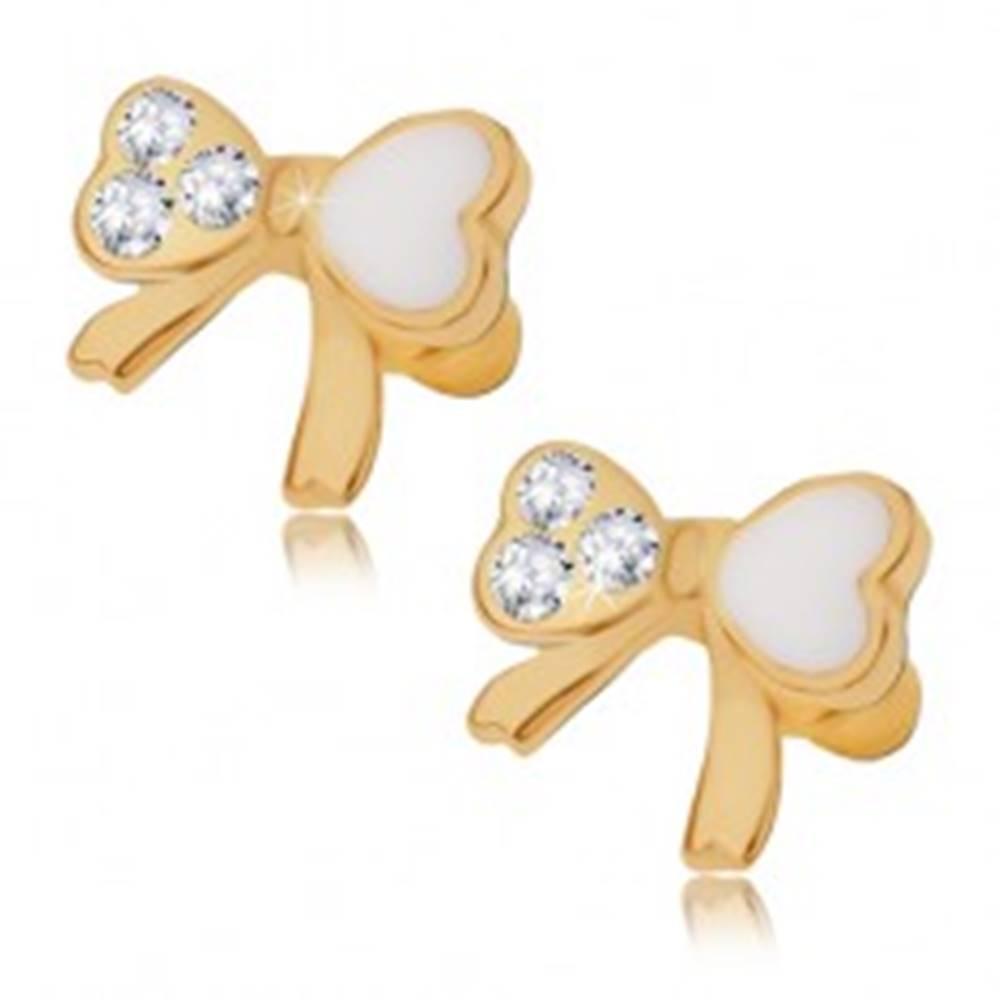 Šperky eshop Puzetové náušnice, srdiečková mašľa s kamienkami a bielou glazúrou