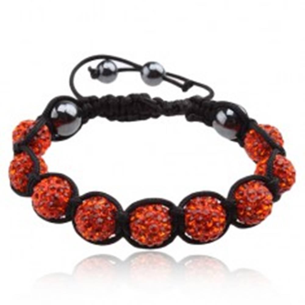 Šperky eshop Shamballa náramok, oranžové zirkónové guličky, hematitové korálky