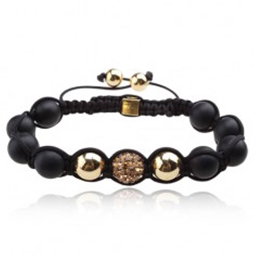 Šperky eshop Shamballa náramok, zirkónová gulička a dve korálky v zlatom prevedení