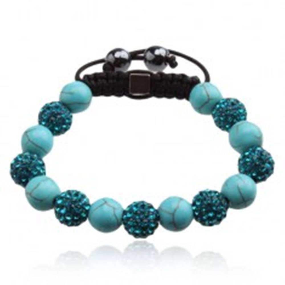 Šperky eshop Svetlomodrý Shamballa náramok, zirkónové a mramorové korálky