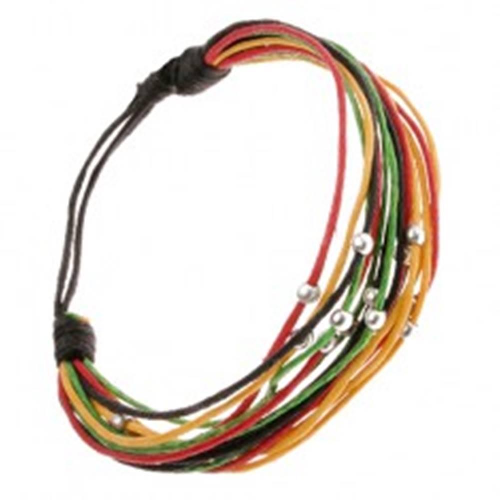 Šperky eshop Viacfarebný šnúrkový multináramok, lesklé korálky v striebornej farbe
