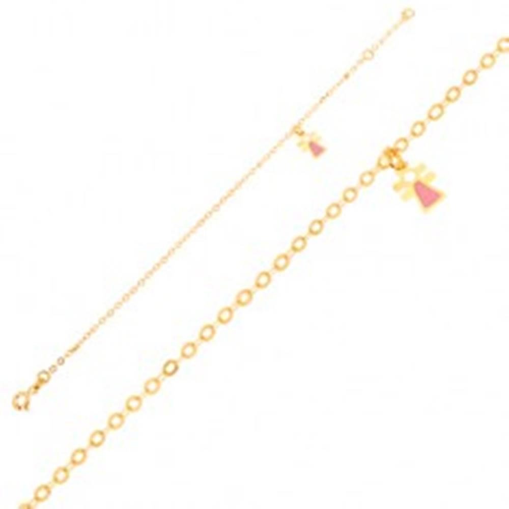 Šperky eshop Zlatý náramok 375 - figúrka dievčatka s emailom na ligotavej retiazke
