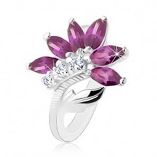 Ligotavý prsteň v striebornej farbe, tmavofialový kvet, lesklý list - Veľkosť: 49 mm