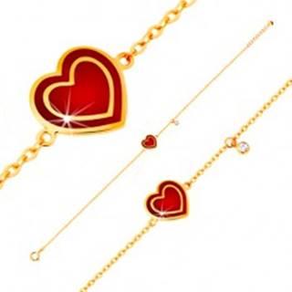 Náramok v žltom 14K zlate, prívesky - srdce s červenou glazúrou, zirkón