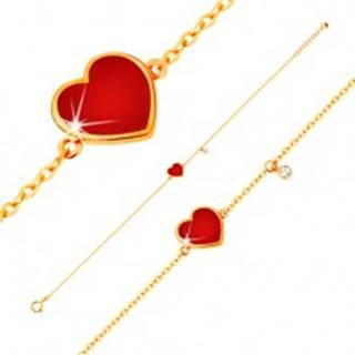 Zlatý 14K náramok - červené glazúrované srdce a číry zirkónik, tenká retiazka, 180 mm