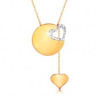Zlatý náhrdelník 585 - jemná retiazka, lesklý plochý kruh, kontúra srdca z bieleho zlata