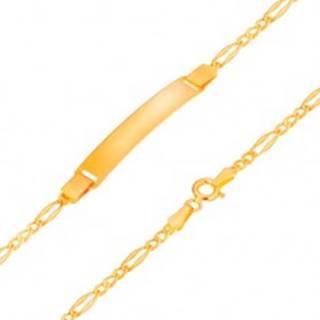 Zlatý náramok s platničkou 585, Figaro vzor - tri menšie a jedno väčšie očko, 195 mm